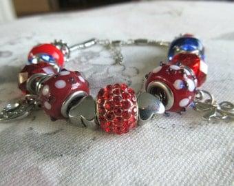 Red, White, and Blue Charm bracelet, european style bracelet