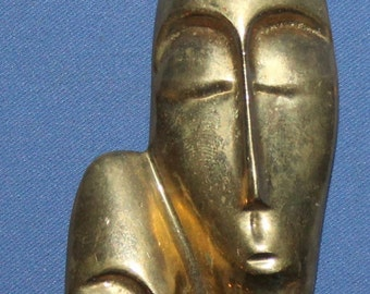Hand Made Modernist Abstract Heads Brass Figurines