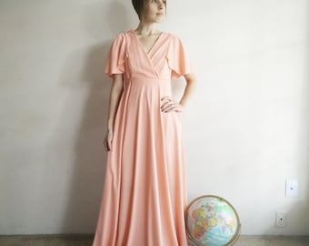 Vintage 1970s Peach Gown/70s Dress/Small Medium
