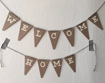 Custom mini banner, custom mini bunting, brown paper banner, brown paper bunting, brown and cream banner - TWINE INCLUDED