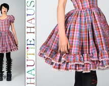 Vintage 80s Square Dance Dress Swing Patio Pink Plaid Clogging Barn Line Dance Western Wear Country Ruffles Anime Harajuku Lolita Small XS