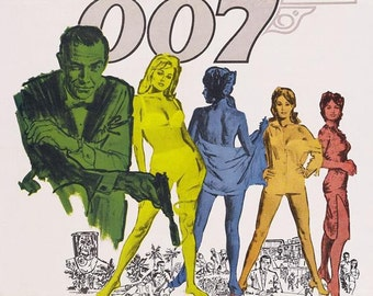 James Bond 007 - Dr. No 1962 Movie Poster Stretched Art Canvas Choice of sizes available.