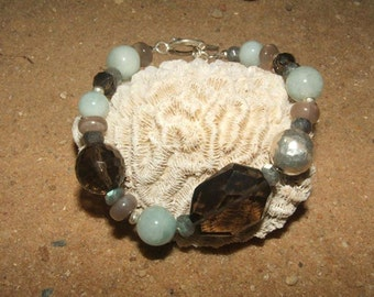 Aquamarine Bracelet Smoky Quartz Sterling Silver Labradorite Statement Moonstone Artisan Hill Tribe Silver Gemstone Bracelet Jewellery Boho