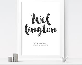 Wellington Coordinate Art, City Art, Minimalist Poster, Coordinate Print, Download Art, New Zealand Art, The City Art, City Posters