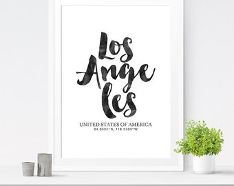Coordinate Print, Los Angeles Art, City Art, City Print, Printable Wall Decor, Typography Art, Digital Download Print, Modern, Art Print