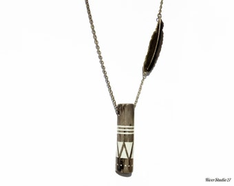 Painted Driftwood Brass Feather Necklace