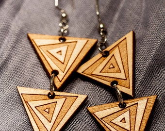 Spiral Triangle Wood Earrings