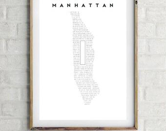 """MANHATTAN, Woody Allen Inspired Minimalist Movie Poster Print 13 x 19"""""""