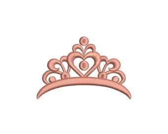 Princess Crown Embroidery Design Machine Embroidery Design 7 Size - INSTANT DOWNLOAD