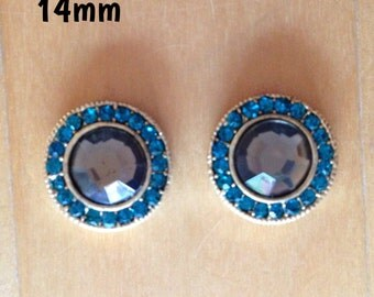 14mm blue crystal centre with turquoise diamante frame plugs for stretched ears