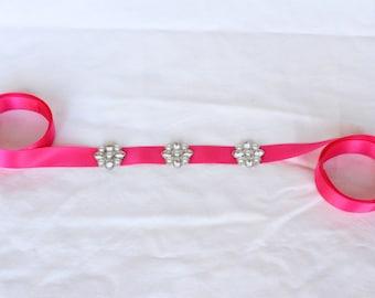 Bridal Sash Belt - Pink Sash Belt - Pearl Sash Belt - Rhinestone Sash Belt - Wedding Sash Belt - Pink Sash - Bridal Sash