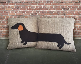 day gift set of 2 knitted pillow cover express shipping dachshund