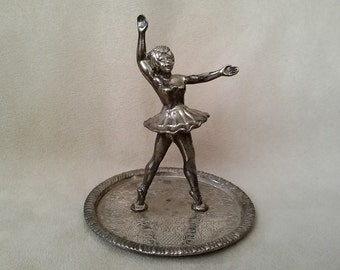 Ballerina Ring Holder, Silver Plated Dancing Girl Ring Holder, Jewelry Holder Organizer, Trinket Dish for Jewelry