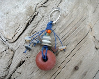 Fishing Float Keychain, Stacked Beach Pebbles, Nautical Keychain, Sailing Accessoires, Gift for Him, Beach Finds, Fisherman