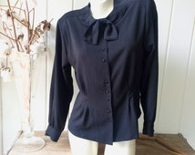 Vintage 40s Inspired Blue-Black Structured & Fitted Crepe Sailor Blouse / Fluttery Tie Neck / Women's Size Medium to Large