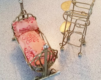 Vintage Dollhouse Furniture, Brass Crib and High chair, Miniature Set Highchair and Cradle, Wire Furniture, 1970s Dollhouse, Baby Doll Bed