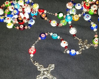 Multicolored Flower Rosary