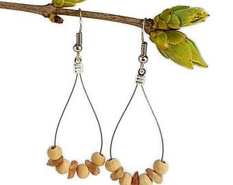 Sunstone dangle earrings, handmade gemstone jewelry, ethnic organic earring drop hoop earring ethnic sunstone jewelry gemstone earring waina
