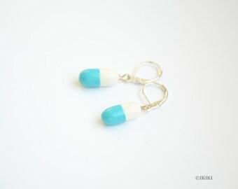 Blue Pill Earrings, Happy Pill Earrings, Mini Pills, Polymer Clay Pills, Pill Jewelry, Gift For Nurse