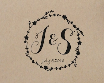 Wedding  Stamp Wreath  Personalized Wedding Stamp   Custom Wedding Rubber Stamp