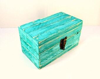 Weathered Turquoise Wooden Memento Box - Beachy Wedding Gift - Coastal Cottage Decor - Engraved Keepsake Box - Unique Jewelry Storage Chest