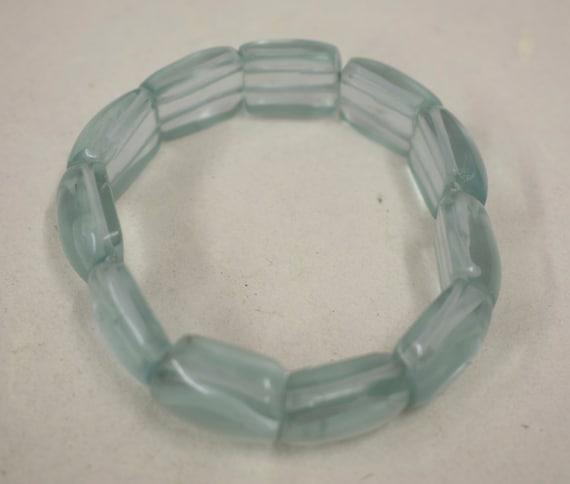 Bracelet Ice Blue Quartz Stretch Handmade Bracelet Jewelry Ice Blue Quartz Vintage Bracelet Unique