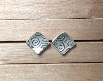 Square Studs, Silver Earrings, Silver Spiral Earrings, Square Silver Earring Studs, Handmade in UK