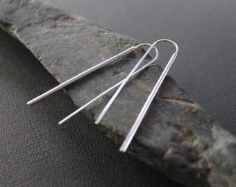 """Long bar earrings. Long silver line earrings.  """"Modern Line Earrings - Long""""."""