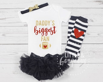 Football Onesie, Football Outfit, Daddys Biggest Fan, Football Shirt, Thanksgiving Outfit, Girls Fall, Halloween, Pumpkin Spice, ONESIE ONLY