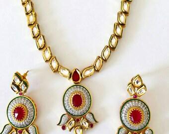 SALE 50% OFF MEENAKARI Kundan Necklace| Indian Jewelry | Indian Earrings | South Indian Jewelry