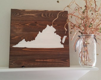 17x17 Wood State Wall Art -Virginia, VA painted sign silhouette