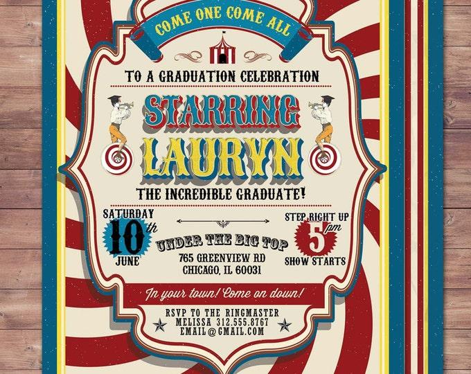 CIRCUS graduation Invitation- Carnival invitation-prom invitation- graduation party invitation-school dance invitation, prom invitation