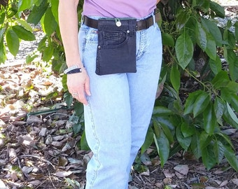 Bag denim, hip bag jeans, travel bag, denim pouch, recycled jeans, jeans purse, small tote bag, cell phone pouch, motorcycle bag   D50