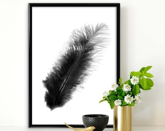 Feather photo - Scandinavian Design Poster, White&Black background, Nordic Design Print , Nordic Minimalist Art, Instant download, Wall Art