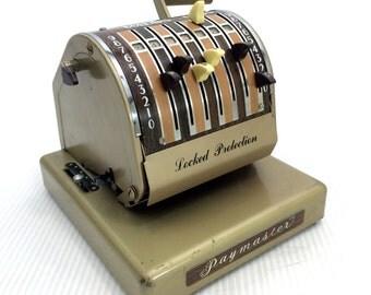 Vintage Paymaster X-550 Check Writer Stamping Printer Locked Protection Working