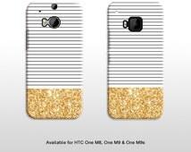 HTC One glitter stripe pattern phone cover. Pinstripe print hard case for HTC One M8 M9 M9s T312