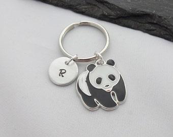 Panda Keychain, Panda Keyring, Initial Keyring, Hand Stamped, Charm, Personalised Keyring, Panda Gift, Gift For Her, Panda Gifts