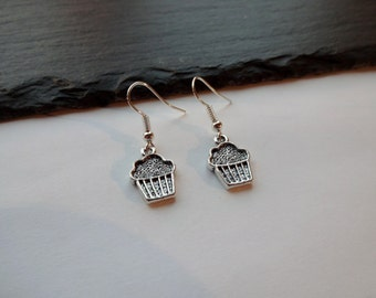 Cupcake Earrings, Silver Coloured Charm earrings,  Cup Cake