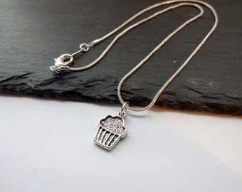 Cupcake Necklace, Silver Charm Necklace, Silver Plated Chain, Cake Necklace