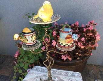 Garden art totem, garden sculpture, vintage bird bath, recycled garden art, garden totem, bird feeder, gift for Gardner, outdoor decor