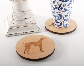 GREYHOUND COASTERS -  set of 4 solid Beech wood coasters with cork base, greyhound dog illustration, perfect gift idea for dog lovers