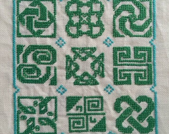 Celtic Knot Completed Cross Stitch (Unframed)