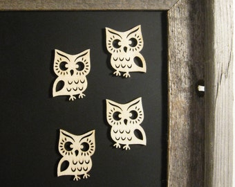 SALE Wooden Owl Magnets in hinged metal box- Refrigerator Magnets, Magnetic Chalkboard Accessory, Cute Fridge, Office Organization, Gift