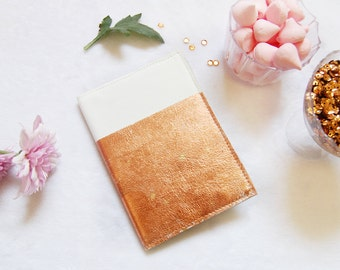 White leather notebook with  copper leaf leather, leather journal, mini leather notebook, white mini note book