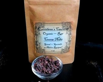 2 oz. Raw Organic Cocoa Nibs, Baking Cocoa, Raw Cocoa, Wicca, Chocolate, Food, Candy, Witches Cupboard, Cocoa Powder