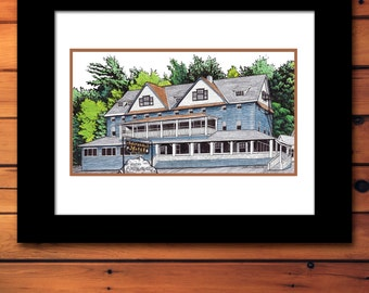 Adirondack Hotel Painting Print Upstate New York Fine Art Illustration Poster