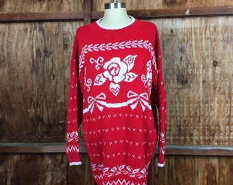 Vintage 80's Delivery Ltd. Knitted Sweater Sz. XL Red White Made in USA