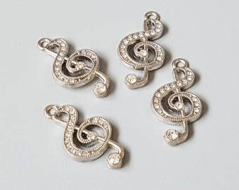 4 x Music note charms | Rhinestone embellishments | Treble clef pendants | Musical | Jewelry supplies | Jewellery making | Craft | Silver