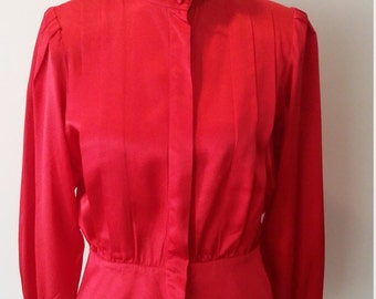 Red silk blouse, pleated silk top, red silk top, S, classic red blouse, 80's blouse, 80's top