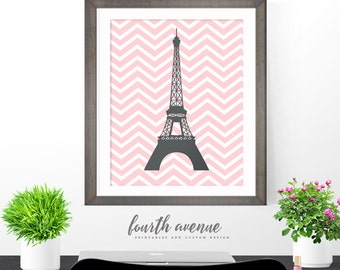 Instant Download // Printable // 16x20 (8x10) Digital Eiffel Tower Paris Image // Grey & Pink // Chevron // #4012015W3